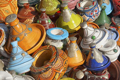 Ceramiczni garnki w marokańczyka rynku, Meknes Fotografia Stock