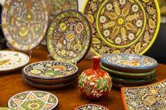 Ceramiczni talerze praca Ukraińscy mistrzowie zdjęcia stock