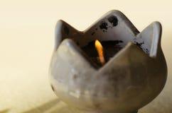 Ceramiczny świeczka płomień Obrazy Royalty Free