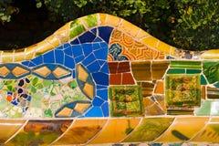 Ceramiczny ławka park Guell, Barcelona - Hiszpania Zdjęcia Royalty Free