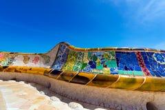 Ceramiczny ławka park Guell, Barcelona - Hiszpania Zdjęcie Stock