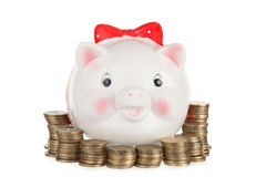 Ceramiczny biały świniowaty moneybox Obrazy Royalty Free