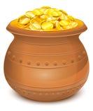 Ceramiczny garnek z złocistymi monetami Fotografia Stock