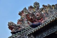 Ceramiczny grzebień na dachu taoist świątynia Obraz Stock