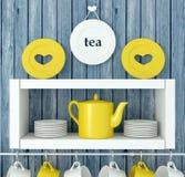 Ceramiczny kitchenware na półce zdjęcie stock