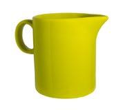 Ceramiczny kubek z spout dla mleko zieleni Fotografia Royalty Free