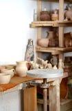 Ceramiczny manufactory i garncarki ` s koło Obrazy Royalty Free