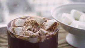 Ceramiczny puchar z marshmallow, szklaną filiżanką z kakao z marshmallow na nadokiennym tle i, zbiory