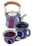 Ceramiczny teapot i dwa herbacianej filiżanki Obraz Stock
