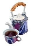 Ceramiczny teapot i herbaciana filiżanka. Zdjęcia Royalty Free