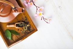 Ceramiczny teapot na drewnianej tacy obrazy stock