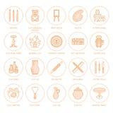Ceramiczny warsztat, ceramics klas kreskowe ikony Gliniani studiów narzędzi znaki Ręka budynek, rzeźbotwórczy wyposażenie - garnc royalty ilustracja