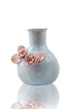 Ceramiczny wazowy decoretad z kwiatami, odosobnionymi Obrazy Royalty Free
