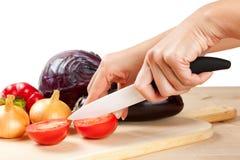 Ceramisch mes met groenten Royalty-vrije Stock Foto