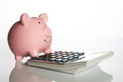 Ceramisch roze spaarvarken die op een calculator bevinden zich royalty-vrije stock fotografie