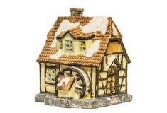 Ceramisch stuk speelgoed geïsoleerd huis Stock Afbeelding