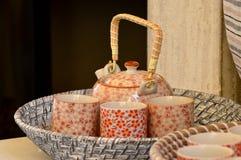 Ceramisch theestel Stock Foto's