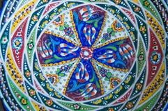 Ceramische authentieke schotel met abstract Arabesque-patroon, mandala Royalty-vrije Stock Foto
