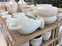 Ceramische bloempotten Stock Foto's