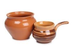 Ceramische bruine pot Stock Afbeelding