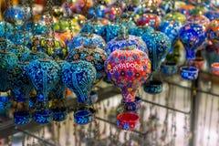 Ceramische hete luchtballons in herinneringswinkel Cappadocia, Turkije Stock Foto