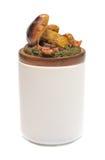 Ceramische kruik met een gevormd deksel stock afbeeldingen