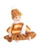 Ceramische oud dolly, geïsoleerdr op witte achtergrond Stock Afbeelding