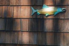 Ceramische vissen op cederplanken royalty-vrije stock afbeeldingen