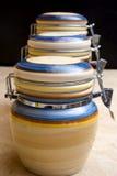 Ceramische voedselkruiken stock afbeeldingen