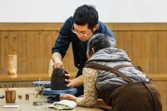 Ceramische workshop bij het Kasteel van Okayama Stock Afbeelding