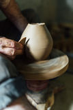 The ceramist make vase from clay Stock Photos