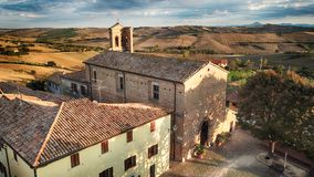 Cerasa di San Costanzo drone wiew of the medieval village. Cerasa di San Costanzo, ancient medieval. Drone picture. Cerasa is a fraction belonging to the stock photo