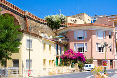 CERBERE, FRANCE - JULY 10, 2016: Mediterranean village of Cerbere,  Pyrenees Orientales, Roussillon, France. Last F. Mediterranean village of Cerbere, Cote Royalty Free Stock Image
