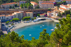 Cerbere. FRANCE - JUNE 26: Bay of  village, Mediterranean sea, Vermilion coast, Roussillon, France Royalty Free Stock Image