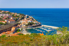Cerbere. FRANCE - JUNE 26: Bay of  village, Mediterranean sea, Vermilion coast, Roussillon, France Royalty Free Stock Images
