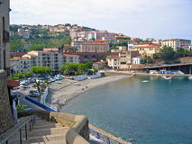 Cerbere village. Picturesque village of Cerbere with railway above the beach, Vermilion coast, Languedoc-Roussillon, France Stock Images