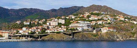 Cerbere village panorama in Roussillon Royalty Free Stock Image
