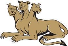 Cerberus多头狗恶鬼坐的动画片 库存图片
