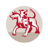 Cerberus Multi-headed Dog Hellhound Circle Retro. Illustration of cerberus, in Greek and Roman mythology, a multi-headed usually three-headed dog, or hellhound stock illustration