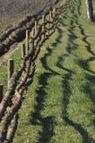 A cerca ao longo da estrada de terra Cerca com cargos de madeira Uma estrada secundária Fotografia de Stock Royalty Free
