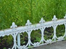Cerca branca para cercar plantas bonitas na cama de flor no jardim foto de stock