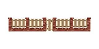 Cerca clásica del ladrillo con los tablones y la puerta de madera Imagen de archivo