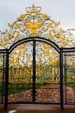 Cerca con el dorado Rusia, la ciudad de Pushkin, Tsarskoe Selo foto de archivo