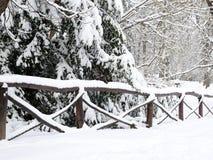 Cerca cubierta por la nieve Fotos de archivo libres de regalías