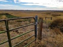 Cerca da exploração agrícola no prado Imagem de Stock Royalty Free