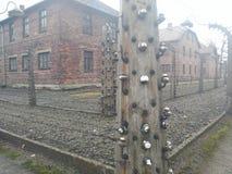 Cerca de alambre eléctrica de Auschwitz Imagen de archivo