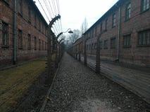 Cerca de alambre eléctrica de Auschwitz II Fotografía de archivo libre de regalías