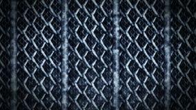 Cerca de alambre metálica en un fondo oscuro Cadena del metal de acero de la malla de alambre Animaci?n del lazo del CG metrajes