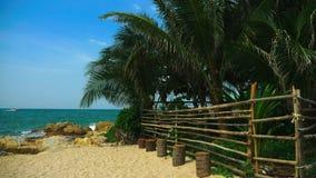 Cerca de bambu do polo em uma ilha tropical Sandy Beach branco com costa palma-alinhada filme