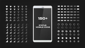 Cerca de 150 iconos del interfaz El cargador del poder de batería, la señal del wifi y el nivel móviles de la conexión cantan el  stock de ilustración